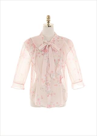 bs5955 산뜻한 분위기의 플라워 패턴 리본 타이 7부 프릴 블라우스 blouse