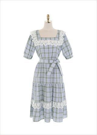 op11328 소녀 감성 가득한 체크와 무지 패턴의 레이스 캉캉 A라인 리본 미디 원피스 dress