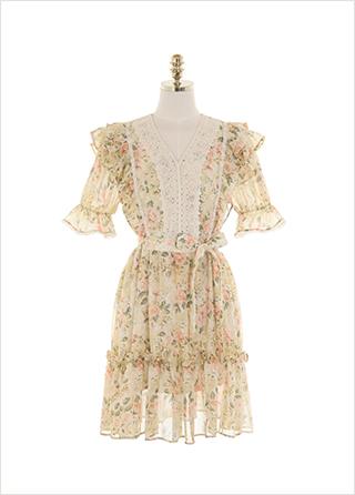 op11329 페미닌한 레이스 트리밍으로 완성된 플라워 프릴 캉캉 미니 원피스 dress