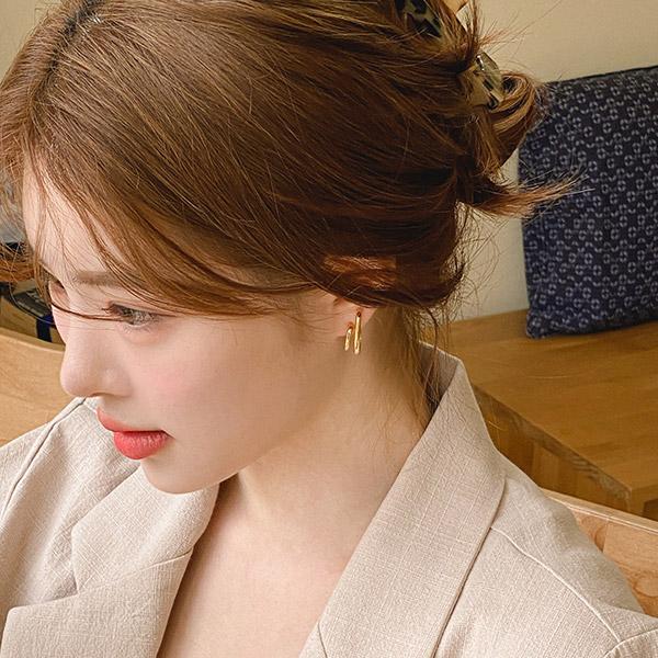 ac5022 레이어드 한듯 세련된 스타일의 미니 링 두줄 이어링 earring