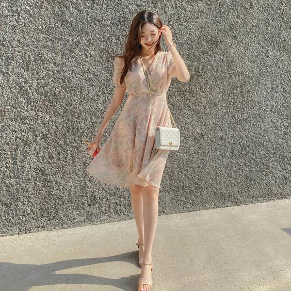 op11371 수채화같은 로즈 플라워 패턴의 랩디자인 뒷리본 플레어 요루쉬폰 미니 원피스 dress
