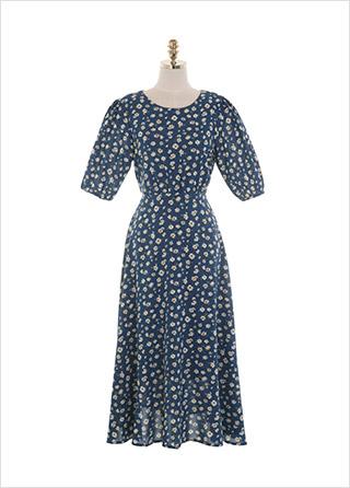 op11395 소녀 감성의 데이지 패턴 플래어 라인 반팔 기장 롱 원피스 dress