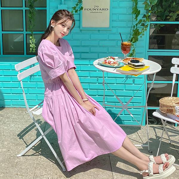 op11427 로맨틱한 퍼프 반팔 소매의 스트링 장식 플리츠 롱 원피스 dress