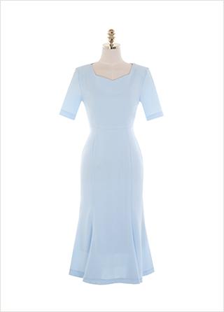 op11454 하늘하늘 청순한 무드의 오각넥 포인트 반팔 리본 머메이드 롱원피스 dress
