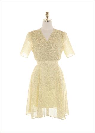 op11459 여리한 플라워 요루 쉬폰으로 완성된 랩디자인 플레어라인 반팔 미디 원피스 dress