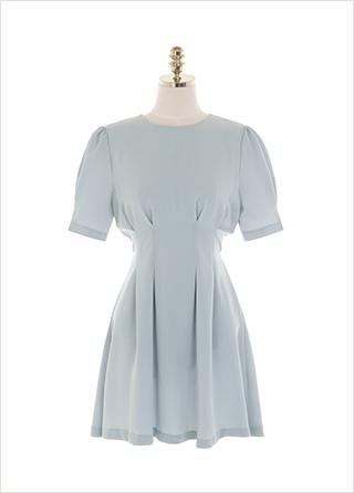 op11460 페미닌한 핀턱 디테일 포인트의 A라인 리본 반팔 미니 원피스 dress