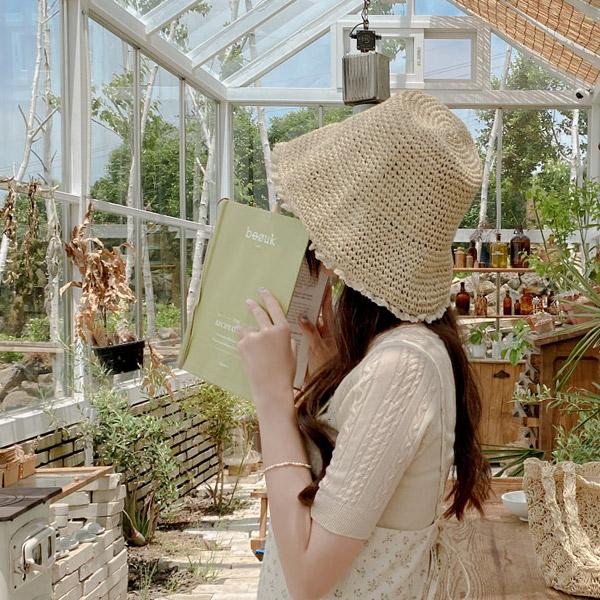 ac5033 소녀스러운 감성의 레이스 밀짚 벙거지 모자 hat