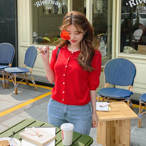 cd1837 산뜻한 니트 소재감으로 여름에 착용하기 좋은 라운드넥 퍼프 반팔 컬러 가디건 cardigan