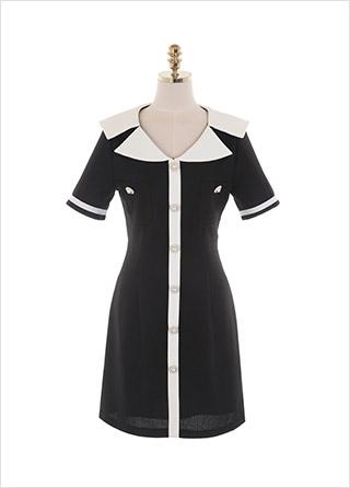 op11573 걸리시한 무드의 세일러 카라 포인트 배색 트위드 A라인 미니 원피스 dress