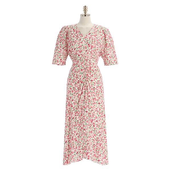 op11724 화사하고 로맨틱한 로즈 패턴의 셔링 리본 A라인 롱원피스 dress