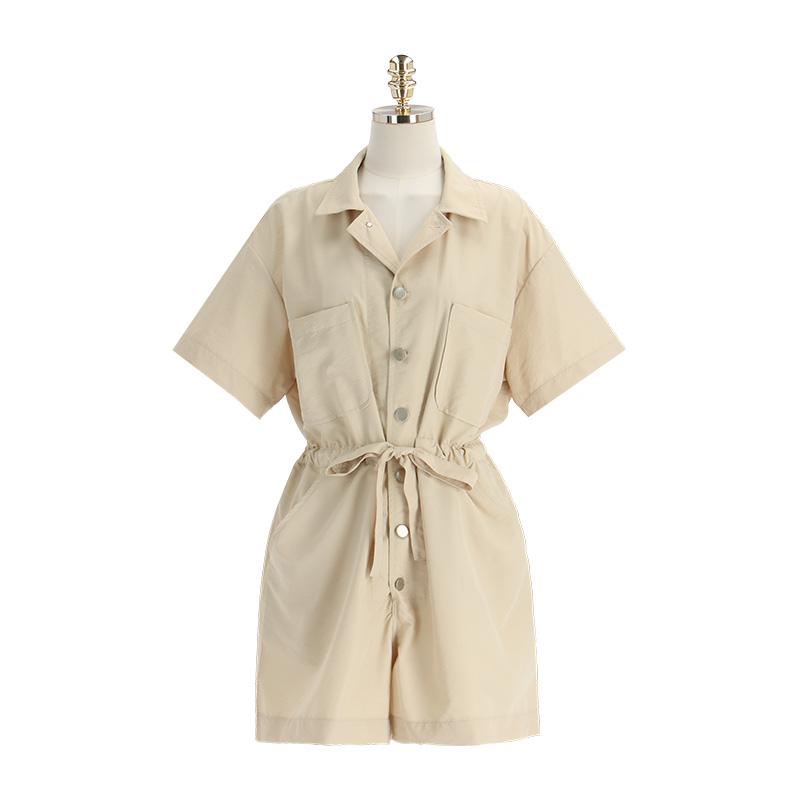 op11734 메탈 버튼으로 포인트 준 3부 기장 반팔 점프수트 dress