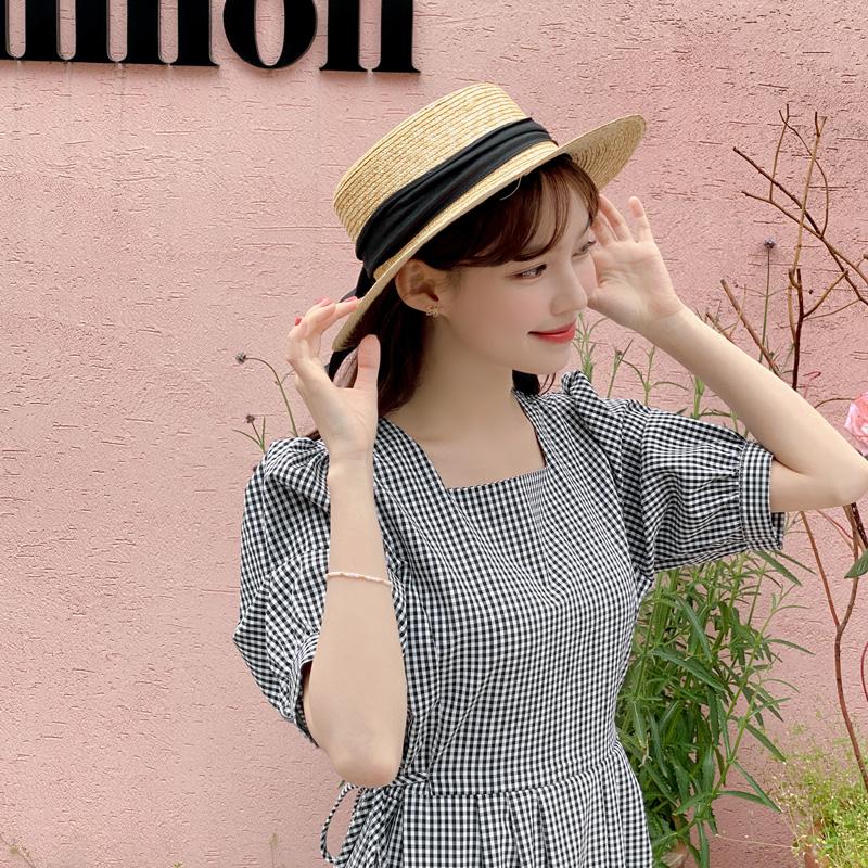 op11807 러블리한 무드의 사이드 리본 포인트 퍼프소매 스퀘어넥 A라인 체크 롱 원피스 dress
