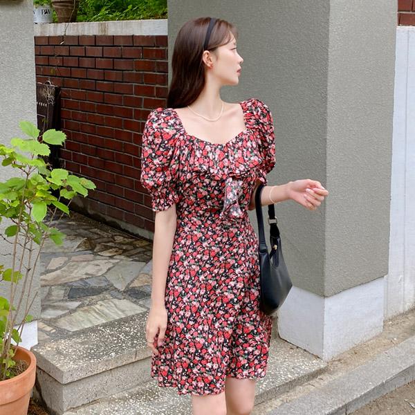 op11813 잔꽃 플라워 패턴과 미니기장 플레어라인 디자인의 스퀘어넥 프릴 원피스 dress
