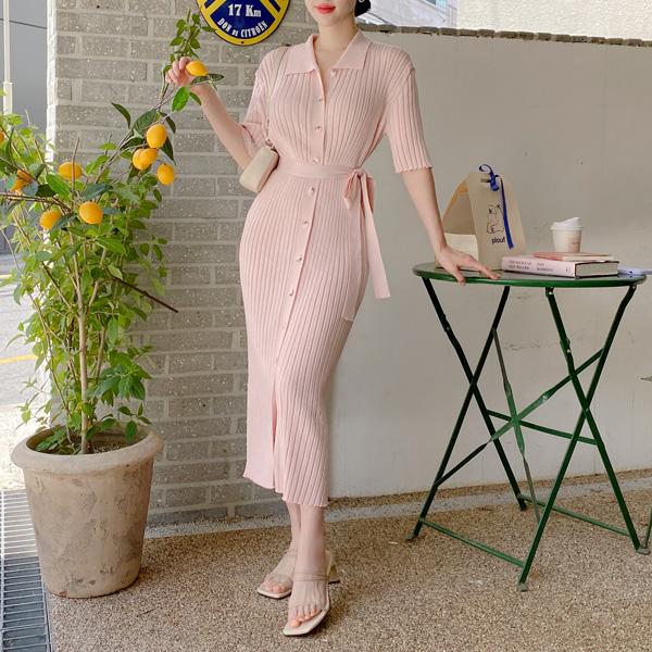 op11847 글램한 바디라인을 연출해 줄 골지 패브릭 리본 스트랩 구성 니트 카라 5부 소매 롱 원피스 dress
