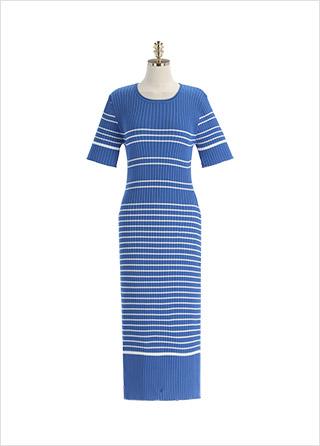 op11905 스트라이프 패턴의 H라인 롱 골지 니트 원피스 dress