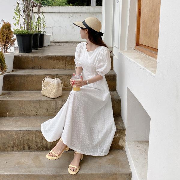 op11967 살랑이는 설레임을 선사할 퍼프숄더 레이스 플레어 원피스 dress