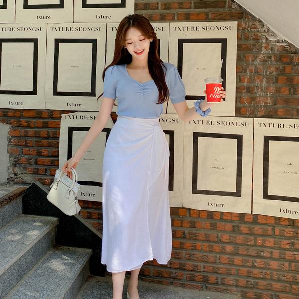 sk4881 하늘하늘 청순한 랩디자인의 린넨 뒷밴딩 A라인 롱 스커트 skirt