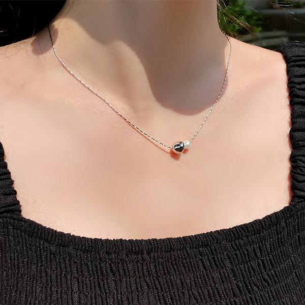 ac5124 불규칙한 라운드볼과 진주볼 더블 포인트의 데일리 목걸이 necklace