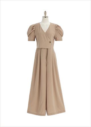 op12016 페미닌한 더블 버튼 랩스타일 핀턱 와이드 점프수트 dress