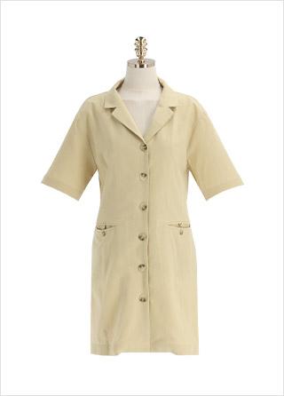 op12020 단정한 자켓 스타일의 버튼업 H라인 반팔 미니 원피스 dress