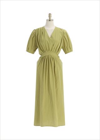 op12086 청량한 코튼 린넨 소재의 랩디자인 플레어 롱 원피스 dress