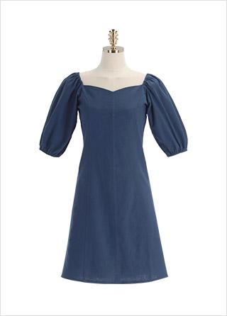 op12089 러블리한 무드의 하트넥 퍼프소매 미니 A라인 원피스 dress