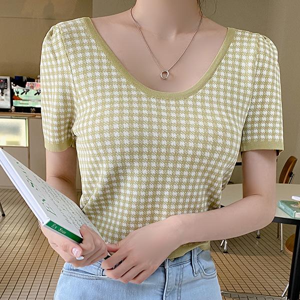 nt2833 구김적어 편안한 쿨링 니트패브릭의 체크패턴 퍼프소매 U넥 크롭니트 knit