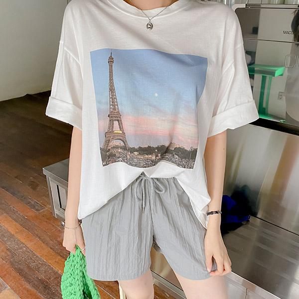 ts2664 벗겨짐 걱정 없는 고퀄리티 에펠탑 프린팅의 라운드넥 박시핏 반팔 티셔츠 tee