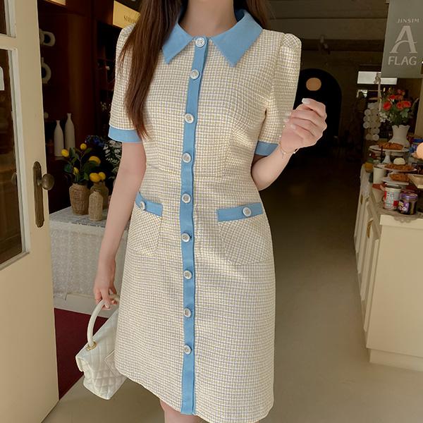 op12192 로맨틱한 데님 배색 포인트 실버장식 트위드 미디 A라인 원피스 dress