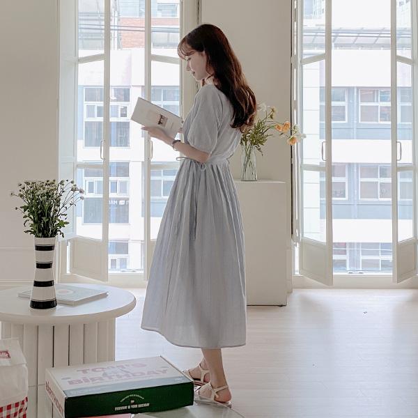 op12212 소녀소녀한 무드의 양리본 썸머 스트라이프 롱 원피스 dress