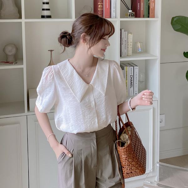 bs6253 후들후들 구김 걱정없는 빅카라 퍼프숄더 반팔 블라우스 blouse