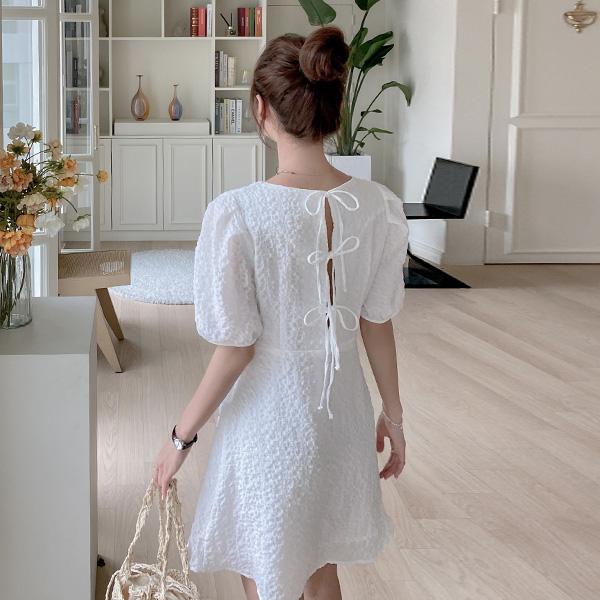 op12213 러블리한 뒷리본 포인트의 팝콘 패브릭 A라인 미니 원피스 dress