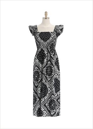 op12235 페이즐리 패턴의 플레어 롱 스모크 나시 원피스 dress