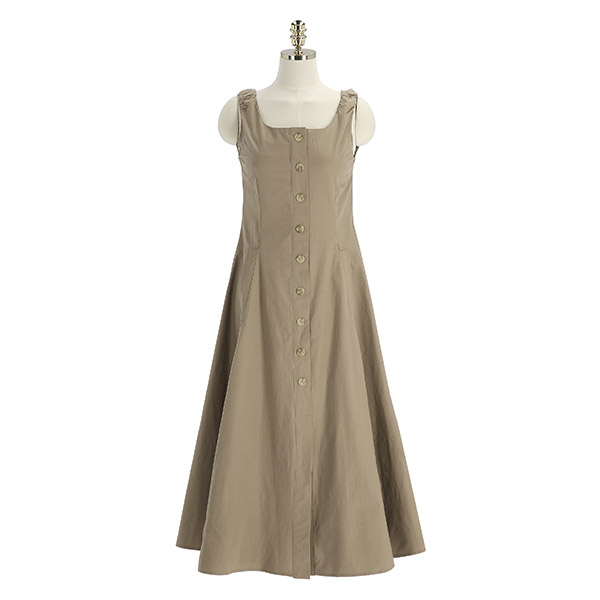 op12289 풍성한 플레어라인의 단추포인트 맥시 민소매 원피스 dress