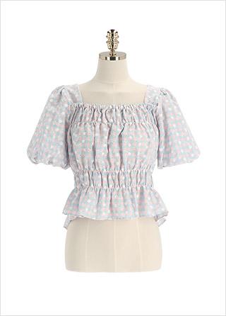 bs6298 러블리한 플라워자수 포인트의 체크패턴 크롭 블라우스 blouse