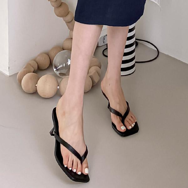 sh2400 페미닌한 스퀘어토의 쪼리스타일 오픈토 뮬 힐 shoes