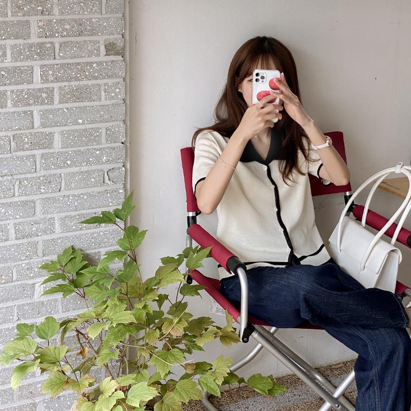 nt2879 트렌디한 무드의 카라 배색 반팔 니트 knit