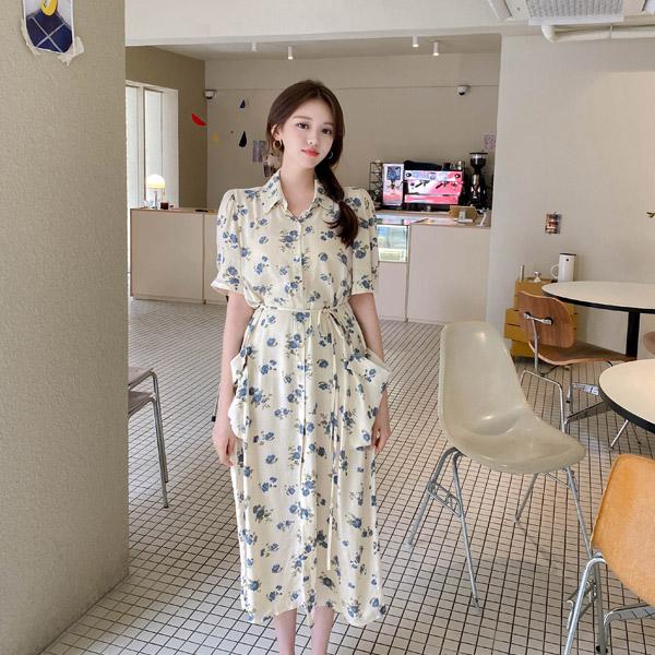 op12337 빈티지한 플라워패턴과 촉촉한 소재감의 빅포켓 스트랩 로브 롱원피스 dress