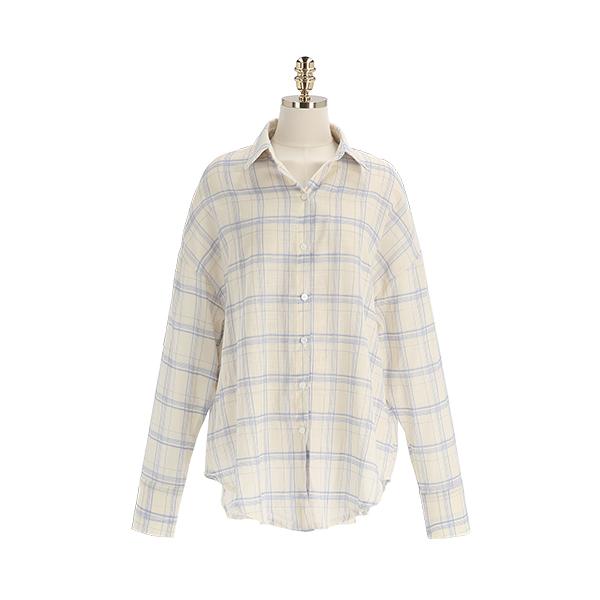 bs6327 썸머 시즌 가볍게 걸치기 좋은 체크패턴의 루즈핏 카라 남방 blouse
