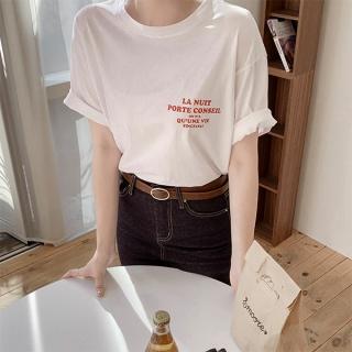 ts2726 シンプルレタリングコットン半袖Tシャツ