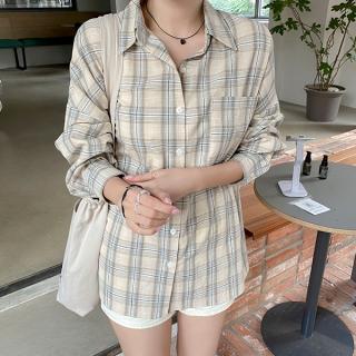 bs6386 オーバーシルエットチェックシャツ