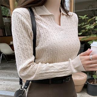 nt2900 여리핏 세로 꽈배기 짜임 오픈 카라넥 긴팔 니트 knit
