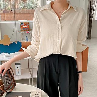 bs6444 소프트한 터치감의 베이직 스탠다드핏 카라 긴팔 셔츠 blouse