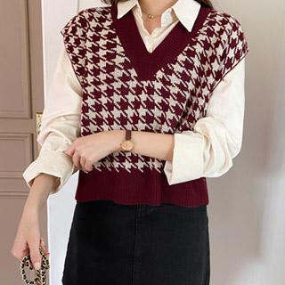 vs237 하운드투스 체크 패턴의 컬러 배색 브이넥 니트 베스트 vest