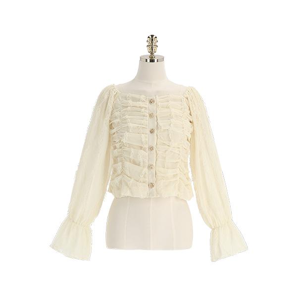 bs6459 러블리한 레이스 셔링 가득 담은 금장 포인트 쉬폰 블라우스 blouse