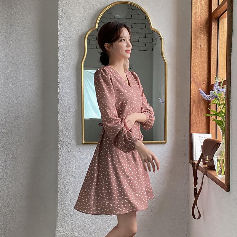 op12612 은은한 잔꽃 패턴의 랩디자인 뒷리본 A라인 미니 원피스 dress