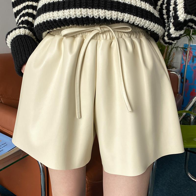 ps3256 트렌디한 레더 패브릭의 리본 허리밴딩 와이드 숏 팬츠 pants