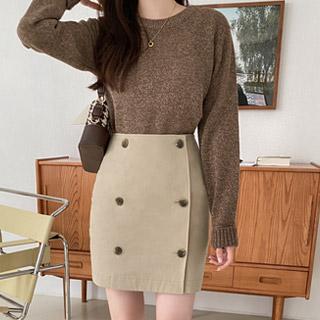 sk5028 트렌치 디자인의 더블버튼 H라인 랩 미니 스커트 skirt