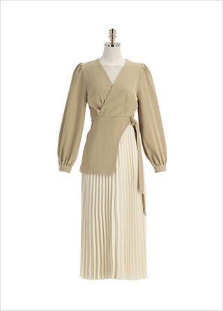 op12626 소장가치 높은 언밸런스 플리츠 롱 원피스 dress