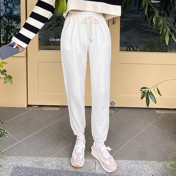ps3266 포근한 착용감의 풀밴딩 루즈핏 골지 조거팬츠 pants
